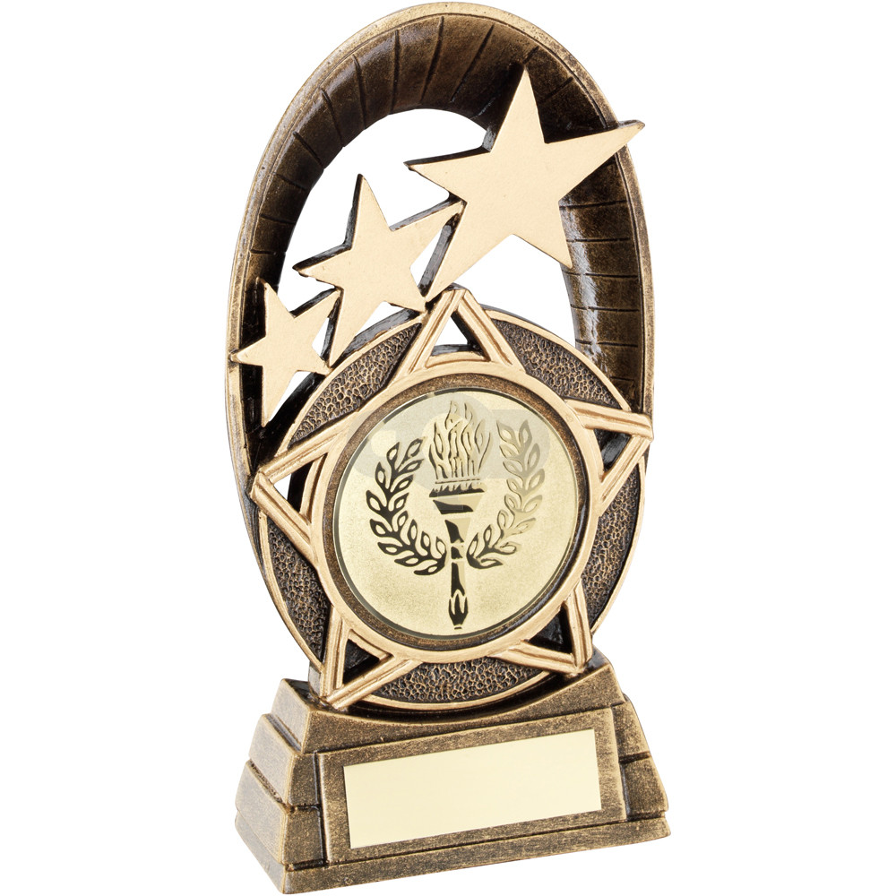 Generic Tri-Star Oval Plaque Trophy
