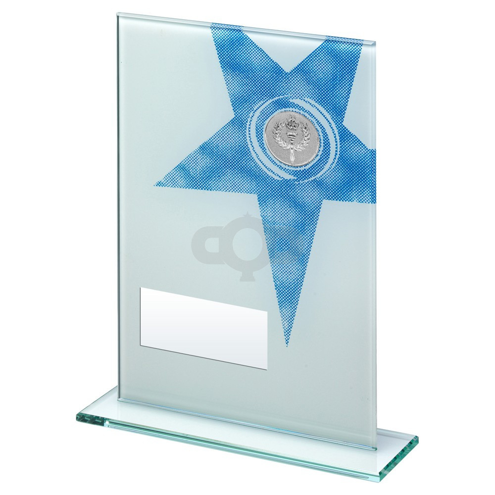 White & Blue Printed Glass Rectangle With Large Star Trophy