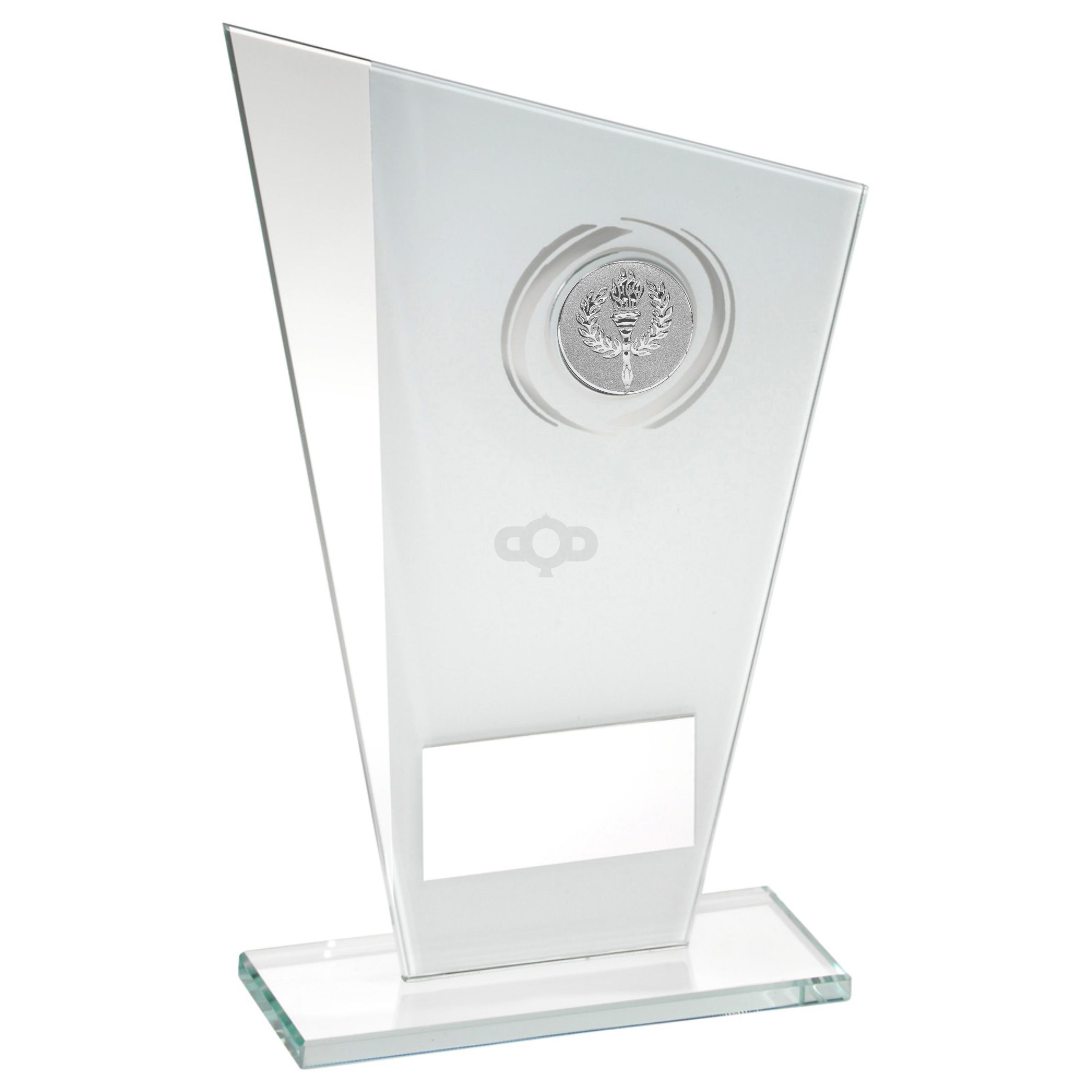 White & Silver Printed Glass Plaque With Wreath Trophy -