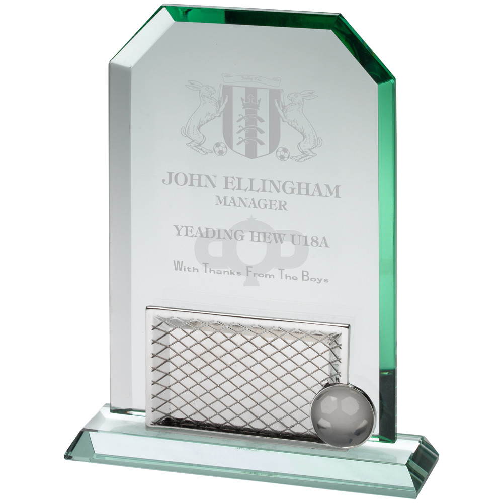 Jade Glass Rectangle Football With Removable Base