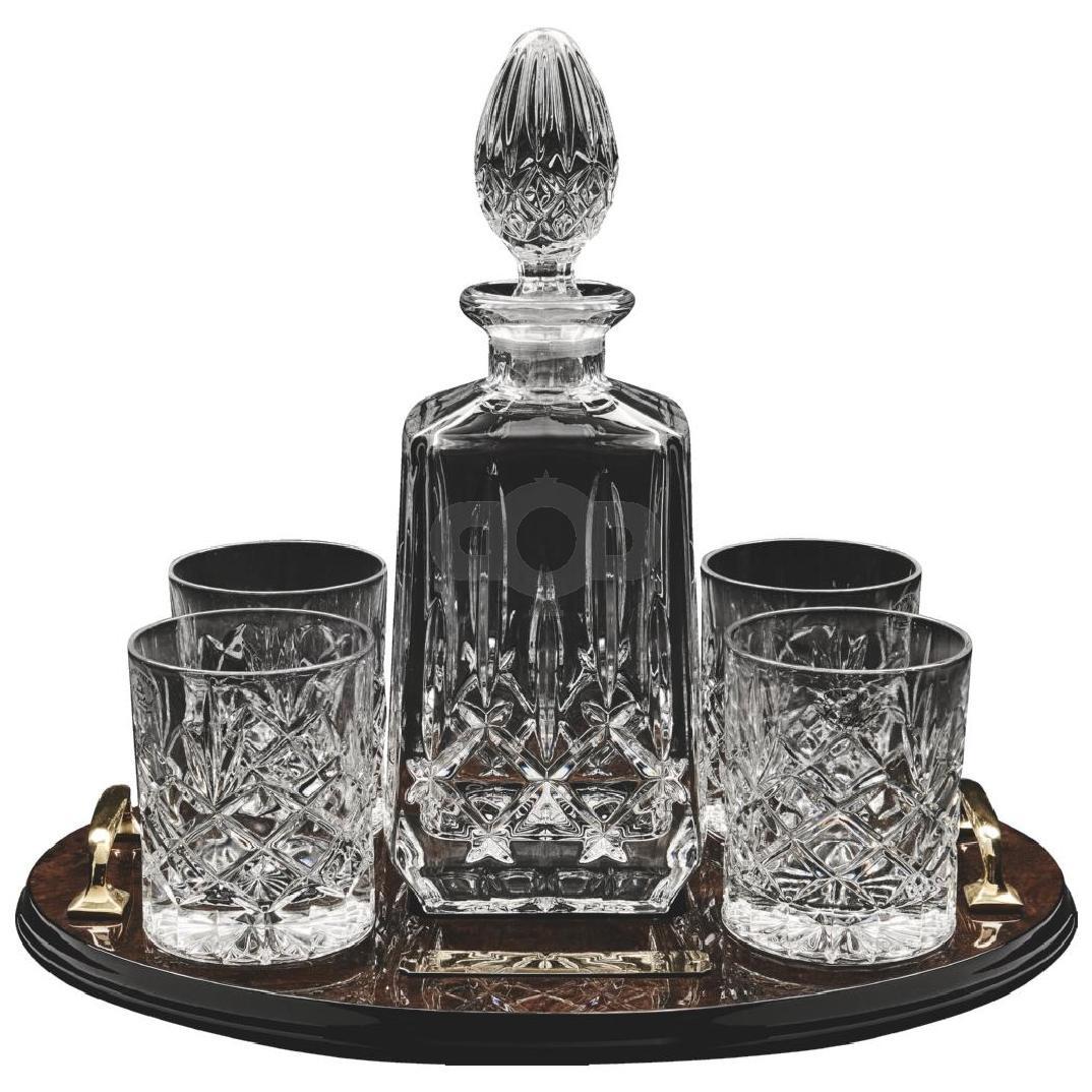Decanter & 4 Spirit Glasses on Tray