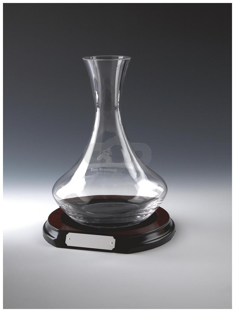 Glass Wine Decanter on Wood Stand