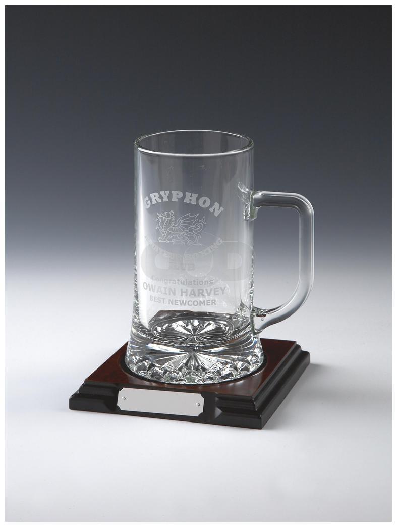 Glass Tankard on Wood Stand (Pint)