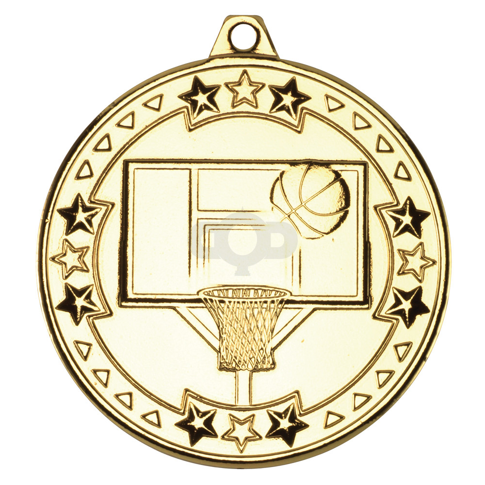 50mm Basketball 'Tri Star' Medal