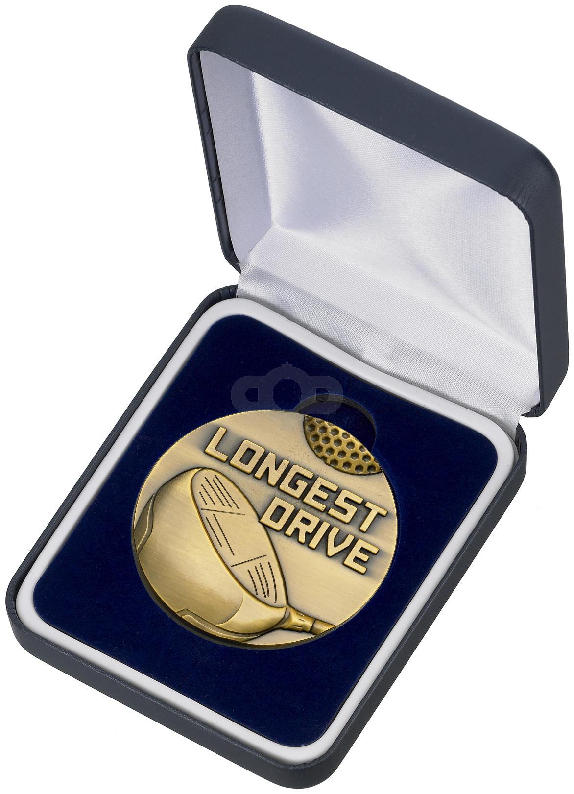Golf Longest Drive Medal & Box