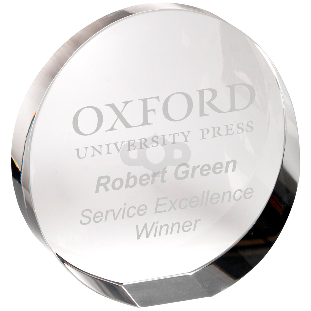 Clear Glass Round Paperweight With Presentation Case