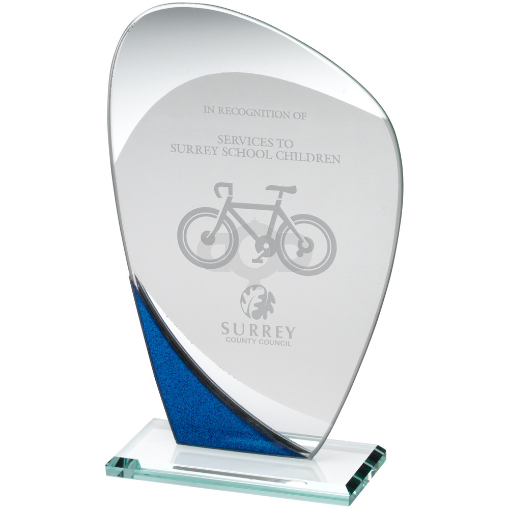 Jade Glass Curved Plaque With Blue & Silver Detail