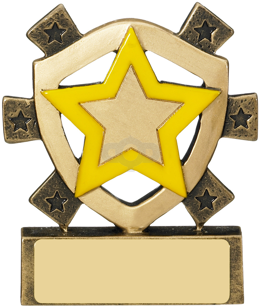 Yellow Star Mini Shield Award