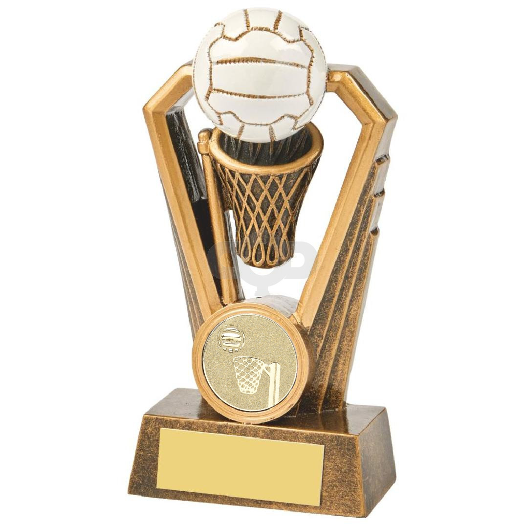 Antique Gold Netball Resin Trophy