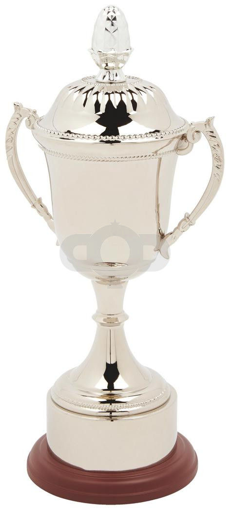 Nickel Plated Presentation Cup with Plinth Band and Decorative Lid