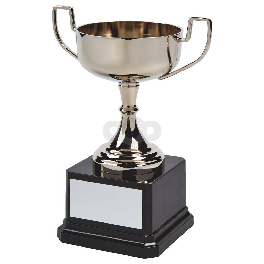 Wide Nickel Plated Trophy Cup on Black Base