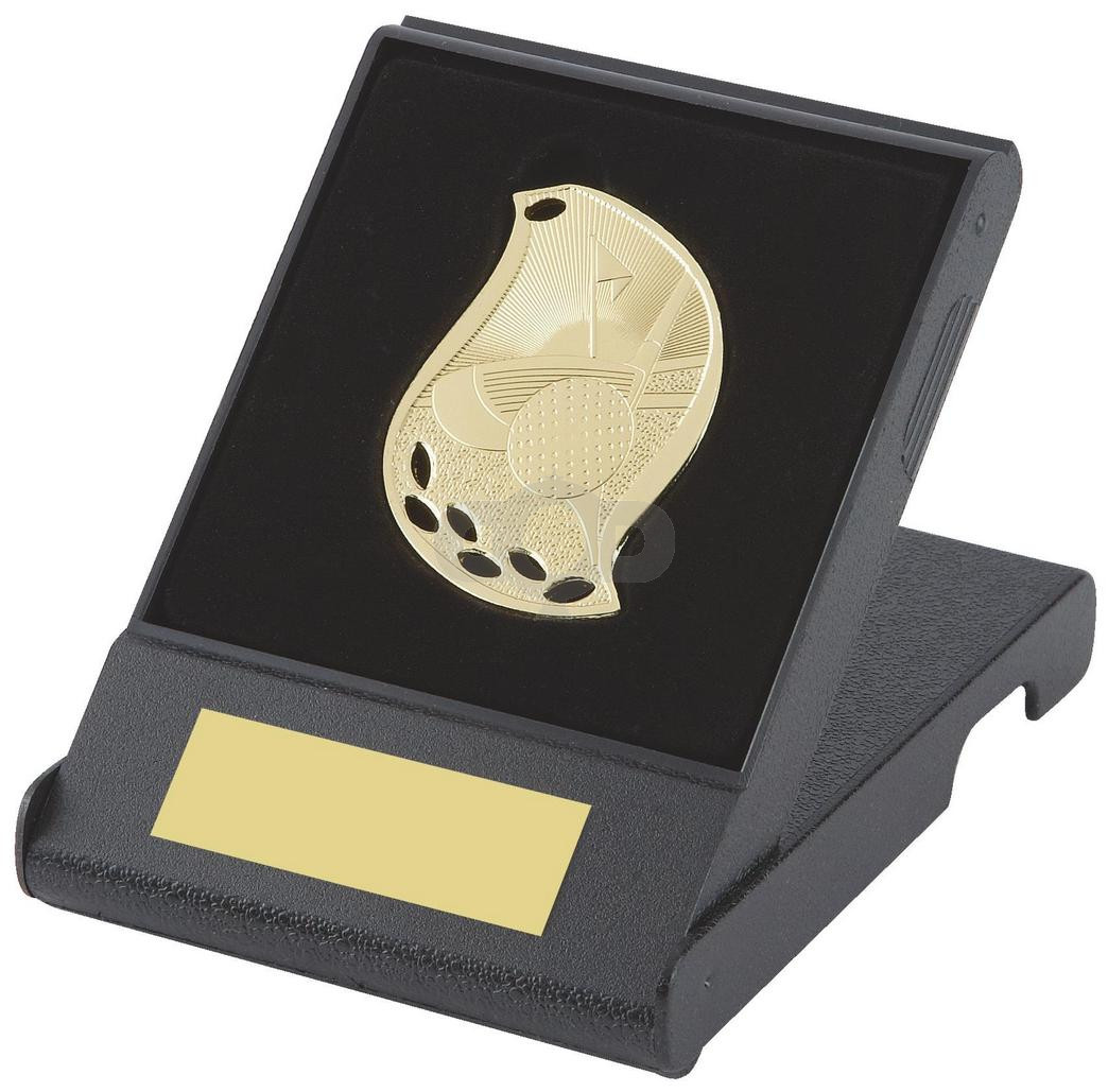 Flame Design Golf Medal in Presentation Case