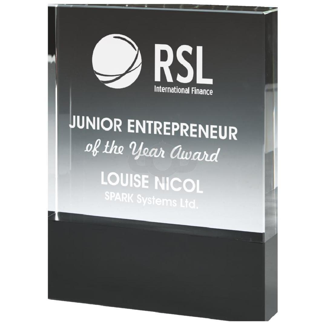 Crystal Block Award with Black Base