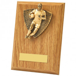 Antique Gold Male Rugby Wood Plaque Award