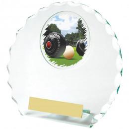 Circular Jade Glass Lawn Bowls Award