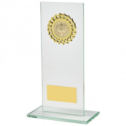 Rectangular Jade Glass Gold Trim Award