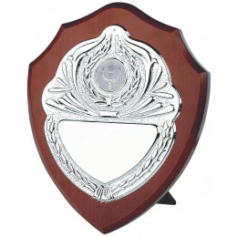 Wood Shield Award with Chrome Front