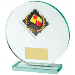 Jade Glass Football award with Corner Flag and Ball Image