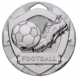 Silver Football Mini Shield Medal