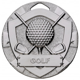 Silver Golf Mini Shield Medal