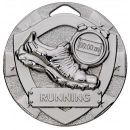 Silver Running Mini Shield Medal