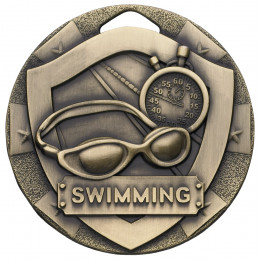Bronze Swimming Mini Shield Medal