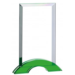 Rectangular Glass With Green Base Award