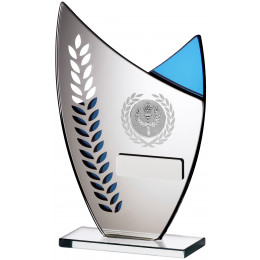 Glass Leaf Blue Mirror Award