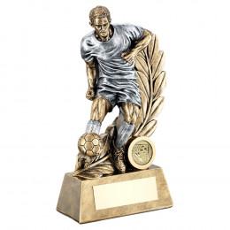 Bronze & Pewter Male Football Figure On Leaf Backdrop Trophy