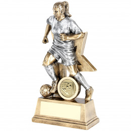 Female Football Figure With Star Backing Trophy