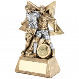 Male Double Football Figure With Star Backing Trophy