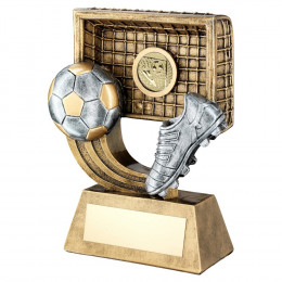 Bronze & Pewter Football On Swoosh With Boot & Net Trophy
