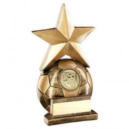 Bronze Football With Gold Star Trophy
