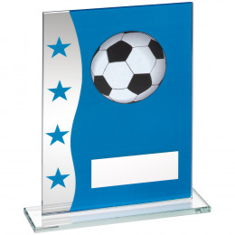 Blue & Silver Printed Glass Plaque With Football Image Trophy