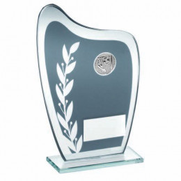 Grey & Silver Glass Plaque With Football Insert Trophy
