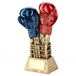 Bronze, Red & Blue Boxing Gloves Star Burst With Ring Base Trophy