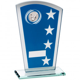 Blue & Silver Printed Glass Shield With Ten Pin Insert Trophy