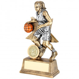 Female Basketball Figure With Star Backing Trophy