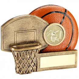 Basketball And Net Chunky Flatback Trophy