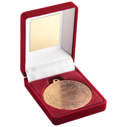 Red Velvet Box and 50mm Medal Basketball Trophy
