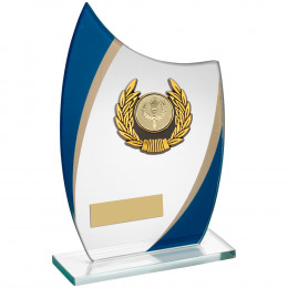 Curved Glass With & Black Wreath Trim Trophy