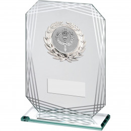 Jade Silver Rectangle Glass With Silver Trim Trophy