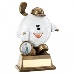 Bronze & White Comedy Golf Ball Figure Trophy