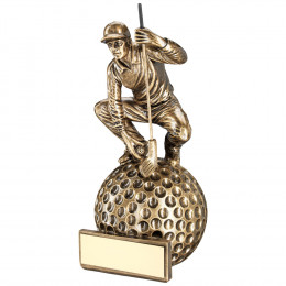 Crouching Golfer On Ball Base Trophy
