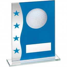 Blue & Silver Printed Glass Plaque With Golf Ball Image Trophy