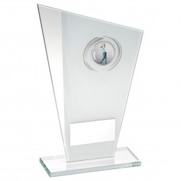 White & Silver Printed Glass Plaque With Golf Insert Trophy