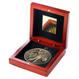 Rosewood Box And 60Mm Medal Golf Trophy - Antique Gold