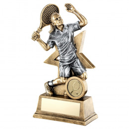 Bronze & Pewter Female Tennis Figure With Star Backing Trophy