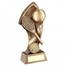 Bronze Tennis With Twisted Backdrop Trophy