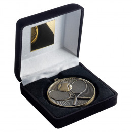 Black Velvet Box And 60Mm Medal Tennis Trophy - Antique Gold